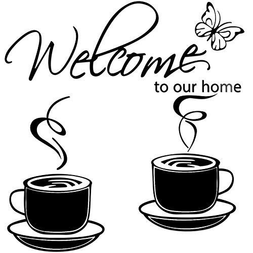 3 Calcomanías de Pared de Espejo Extraíble de Acrílico de Casa, Incluye 1 Pegatina Welcome to Our Home, 2 Pegatina de Té de Café Etiqueta de Vinilo de Taza de Café (Negro)