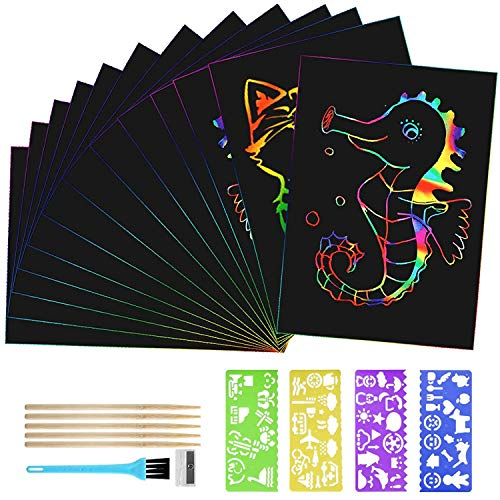 BelleStyle Scratch Art, 50 Hojas Papel de Rascar, Arco Iris Kit de...
