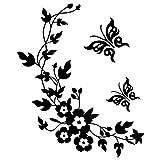Fablcrew Stickers Muraux Papillon Noir Fleur Vine Autocollants Muraux Maison Chambre Salon Décoration