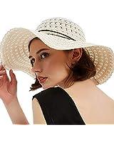 Summer Beach Sun Hats for Women Woman Foldable Floppy Hat Cotton Wide Brim Hat Beige