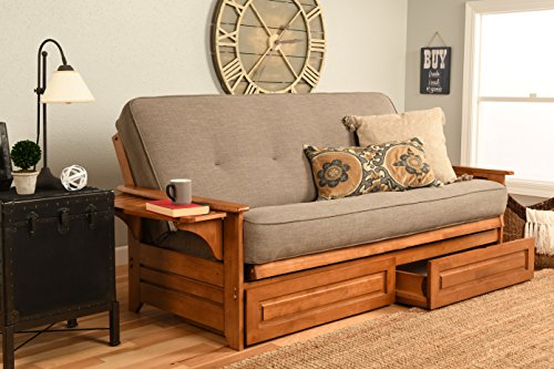 Kodiak Furniture Phoenix Futon Set with Linen Stone Mattress and Storage Drawers, Full, Barbados
