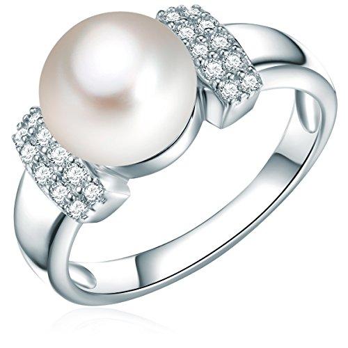 Tresor 1934 Ring Sterling Silber Süßwasser-Zuchtperle weißButtonform Zirkonia weiß