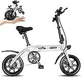 MQJ Bicicleta Eléctrica de Ebikes, Bicicleta Plegable de 14 Pulgadas 36V con Batería de Litio 6-14.5Ah, Bicicleta de la Ciudad Velocidad Máxima 25 Km/H, Freno de Disco Delantero Y Trasero, 3 Modos