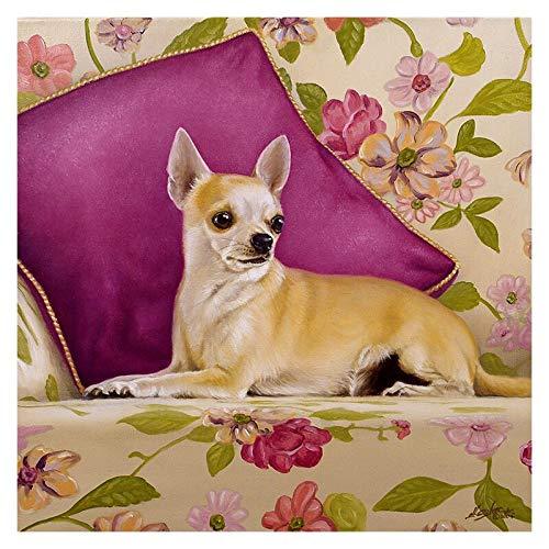 5D Diamante Pintura Por Número Animal,Chihuahua En La Cama DIY Pintura Kit De Taladro Redondo Para Adultos,Rhinestone Bordado De Punto De Cruz 30 * 40cm