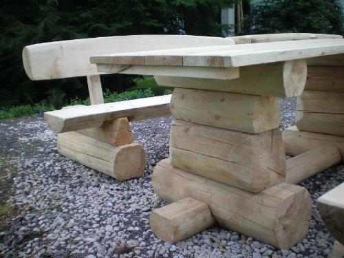 8 Personen Holzbalken Garten Sitzgruppe Bild 2*
