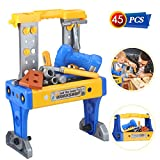 Power Tool Workshop Durable Kids Tool Set Kits Electronic Workbench Bench Drill Boys Toys Realistic Tools Toddler Tool Set Pretend Play Construction STEM Educational Gifts for Boys Girls Age 3-7