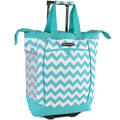 Pacific Coast Signature Large Rolling Shopper Tote Bag, Chevron Teal, One Size