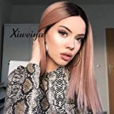 Xiweiya 14Inch Short Straight Hair Bob Wigs Ombre Rose Gold with Dark Roots Synthetic Lace Front Wig Center Parting Glueless Wig Heat Resistant Natural Hairstyle Peach Pink Hair-Replacement