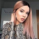 Peluca de cabello corto rosa Xiweiya con raíces oscuras, peluca de reemplazo de cabello frontal de encaje sintético peluca suave de parte media para mujeres Maquillaje de fiesta 14 pulgadas
