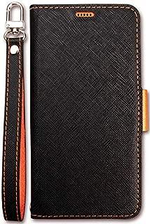 Xperia XZ3 ケース 手帳型 ストラップ 付き マグネット 式 ベルト スタンド 機能 薄型 スリム 手帳 レザー カバー カード 収納 付 Corallo NU [ Sony XperiaXZ3 ソニー エクスペリア XZ3 ] ブラック×オレンジ