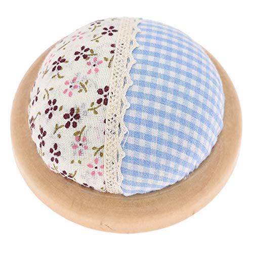 MZY1188 Alfiletero con Base de Madera - Cojín de algodón con Estampado Floral Cojín de Punto de Cruz DIY Costura Costura Almohada de Aguja