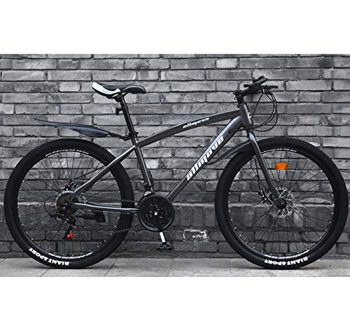 AP.DISHU Adulto Bicicleta De Carretera 26 Pulgadas Bicicleta De Carreras para Hombres con Freno De Disco Doble Bicicleta De Carretera City Utility Bike,Gris,24 Speed