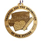 Jolette Designs Teachers Christmas Tree Ornaments, Great Appreciation Gifts for Birthday, Graduation, end of Year to say Thank You. 3.25X3.25 Wooden Decorations for School Classroom Made in USA
