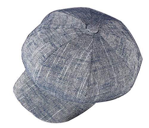 CHENNUO CHENNUO Schirmmützen Damen Lässiger Baumwolle und Leinen Barette Visor Cap Maler Mütze (Blau)