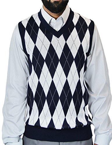 Blue Ocean Argyle Jacquard Sweater Vest-3X-Large Navy