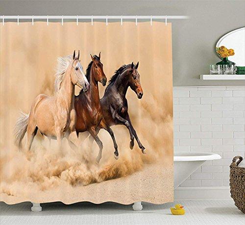 Animal Decor Collection Tres caballos corriendo en la tormenta del desierto Mythical Mystical Messenger Animals in Habitat Estampado Tela de poliéster Baño Cortina de ducha 180CM Crema larga Marrón