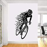 Carreras de bicicletas Deportes Ciclismo Bicicleta Casco quemador de fuego Jugador Ciclista Vinilo Etiqueta de la pared Calcomanía Niño Dormitorio Sala de estar Club Decoración del hogar Mural