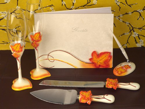 Autumn / Fall Theme Wedding Accessory Set: Flutes, Cake Servers, Guestbook. Pen