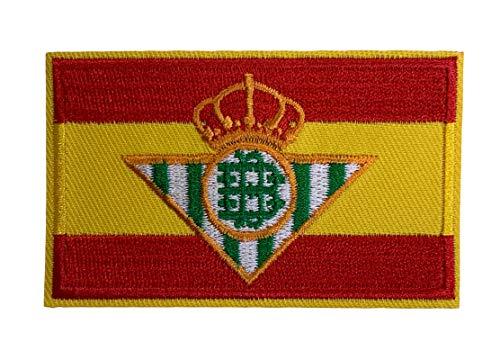 Parche Bandera de España Escudo del Real Betis Balompie 8x5 cm | Muy Adherentes | Patch Stickers Para Decorar Tu Ropa | Fáciles de Poner en Chaquetas Pantalones Camisas y Objetos de Tela