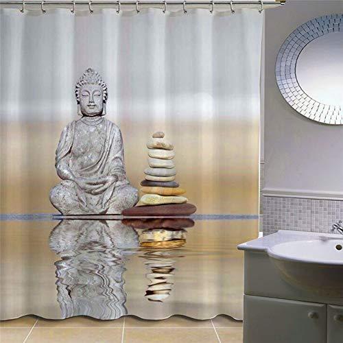 JLCP Wasserdicht Duschvorhang, Im Wasser Buddha-Statue Verdicken Polyester Vorhang für Dusche Bad küche Mehltau Antibakterielle Badzubehör mit 12 stücke Haken 180x180cm