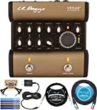 LR Baggs Venue DI Acoustic Guitar Preamp Bundle with Blucoil Slim 9V Power Supply AC Adapter, 10' Straight Instrument Cable (1/4'), 10-FT Balanced XLR Cable, 2x Patch Cables, and 5x Cable Ties