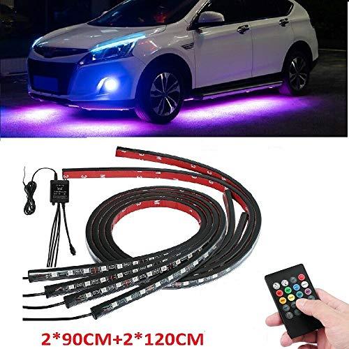 Sunwan, strisce LED luminose per carrozzeria auto, con controllo vocale, 2 strisce da 90 cm e 2 strisce da 120 cm, 4 pezzi