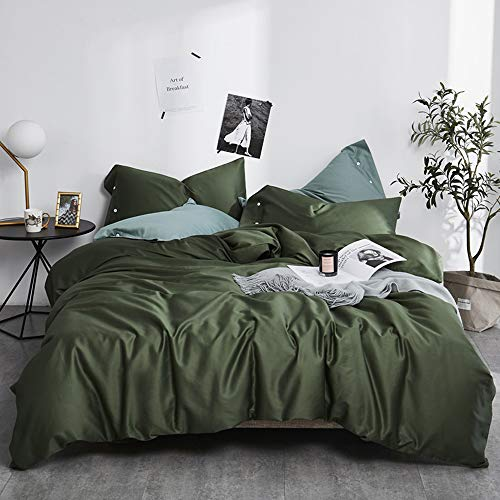 EAVD Modern Style Army Green Duvet Cover King Ultra-Soft 100% Long Staple Cotton Green Bedding Set for Men Women Simple Luxury Army Green Comforter Set with 2 Button Pillowcases(NO Comforter)