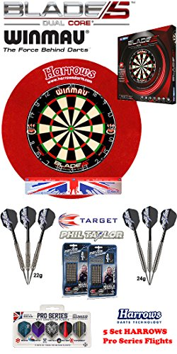 Blade 5 Dual Core + H. Surround red + 2 Set Phil Taylor Darts + Abwurflinie + 5er Set Flights
