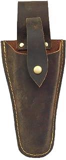 Funda de cuero para tijeras de electricista, alicates de soldadura, soporte para cinturón, bolsa para alicates, tijeras de podar o cuchillo de podar de jardín DD02, marrón
