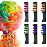 Hair Chalk Comb, Owlbbabies 6 Colors Temporary Hair Color Chalk Dye Crayon Salon Set for Girls Teen Kids Adults Gift, Safe Washable Makeup Kit for Birthday Christmas Party Cosplay DIY