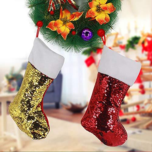 2 Piezas Medias de Navidad,Calcetines Navideños Clásicos de Gran Tamaño, para Decoración de Chimenea, Calcetines de Navidad con Lentejuelas, Regalo y Bolsa de Dulces,Decoración de Hotel(Dorado, Verde)