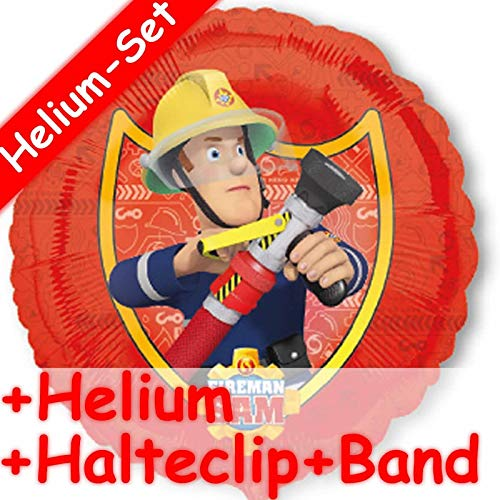 Amscan/CARPETA Folienballon Set * FEUERWEHRMANN SAM + Helium FÜLLUNG + Halte Clip + Band * // Kindergeburtstag Deko Geburtstag Folien Ballon Luftballon Ballongas Feuerwehr Fireman Happy Birthday