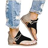 Sandals for Women Flat Casual Summer Beach Sandals Slip-On Open Toe Roman Shoes Gladiator Flip Flop Slippers Black