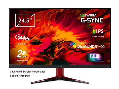 Acer Nitro VG252QPbmiipx Monitor Gaming G-SYNC Compatible, 24,5', Display IPS Full HD, 144 Hz, 2 ms, 16:9, HDMI 2.0, DP 1.2a, Lum 400 cd/m2, Zero Frame, Speaker Integrati, Cavi HDMI, DP Inclusi