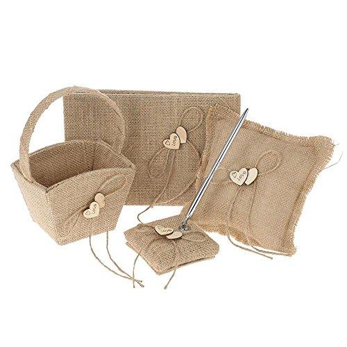 SODIAL 4Pcs/Set Vintage Set Ring Pillow, Flower Girl Basket, Guest Book, and Pen