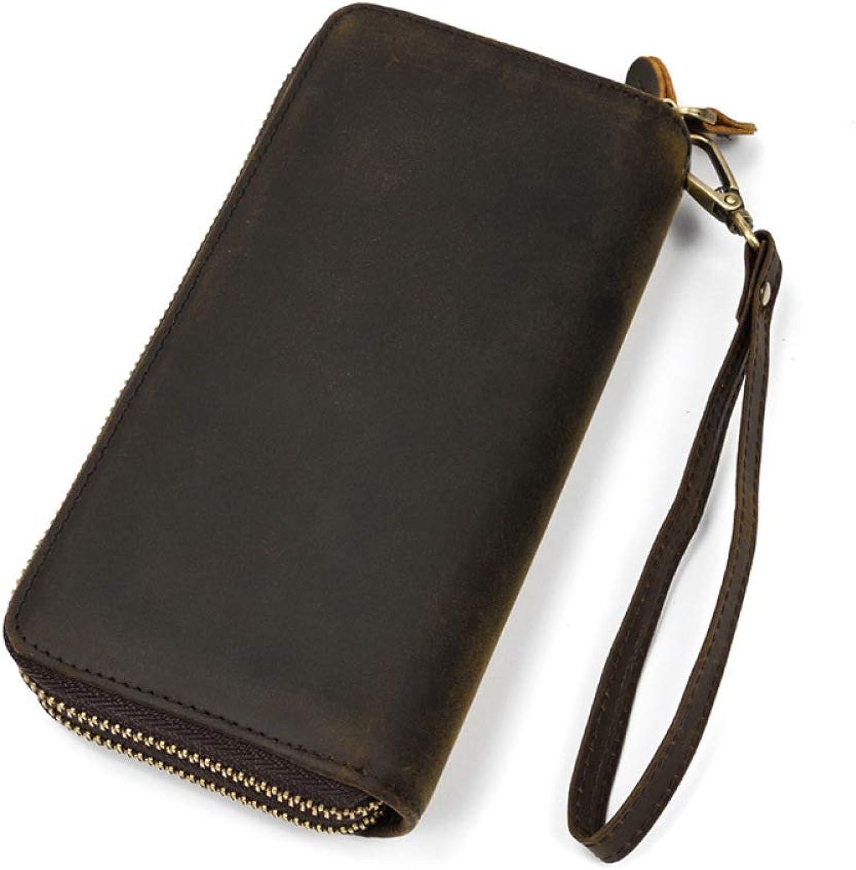 Myzixuan Herren Leder Leder Leder Geldbörse Lange Brieftasche Doppel-Reißverschluss Männer Handtasche Herren Geldbörse 19  9,5  3,5 cm B07KS8QNXM ee3fd0