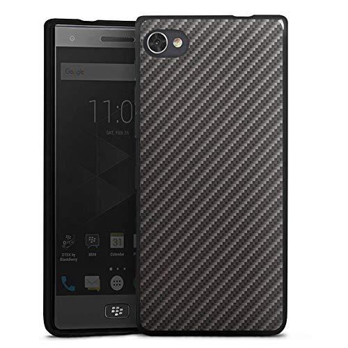 DeinDesign Silikon Hülle kompatibel mit BlackBerry Motion Hülle schwarz Handyhülle Metallic Erscheinungsbild Carbon Muster