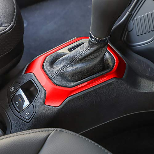 RT-TCZ Gear Shift Panel ABS Trim Cover Frame Decor for Jeep Renegade 2015 2016 2017 (red)