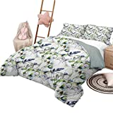 DayDayFun Quilt Bedding Set Flower Quilt Cover with Pattern Floral Pattern with Sweet Pea Blossoms in Watercolor Paint Effect Spring Theme King Size Green White Blue