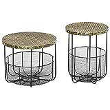 outsunny set di 2 tavolini da giardino in metallo con ceste, arredamento da esterno stile industriale nero