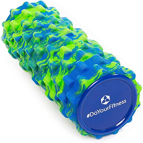 Rodillo para masaje miofascial, rodillo de espuma »Ishana« Graffiti New Style / Rodillo para masajes y terapias que facilita un automasaje efectivo / azul y verde