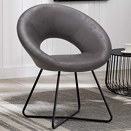 Duhome Modern Tech Fabric Accent Chairs Vanity Chairs Make-up Stool Home Office Guest Reception Chair Arm Leisure Chairs Dining Chair with Black Legs Mid-Back for Living Room 1 pcs Dark Grey