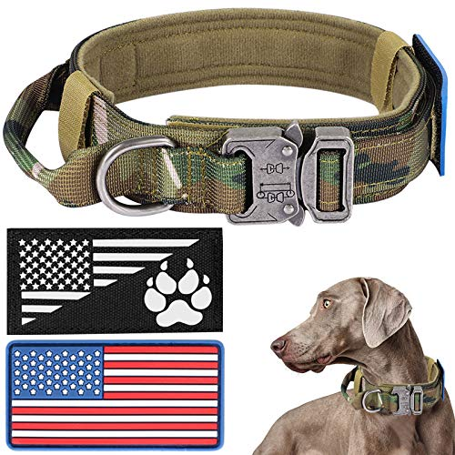 Tactical Dog Collar with USA American Flag, Military Dog Collar Thick with Handle - Reflective K9 Collar Adjustable Heavy Duty Metal Cobra Buckle for Medium Large Dogs with 2 Patches