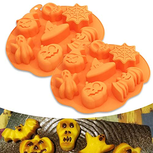 2 Pack Halloween Silicone Baking Molds,Nonstick Silicone Cake Molds,Nonstick Cake Pan Muffin Mold with Pumpkin Chocolate Cupcakes Bat Skull Ghost Shape for Kitchen DIY Baking Tools