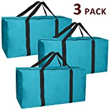 Jalousie 3 Pack Extra Large Heavy Duty Storage Bags Moving Bag Totes Storage Bin Space Saver Travel Duffel Bags - Made of Tough 600D Oxford (Teal-Black 3 Pack)
