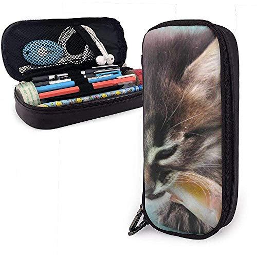 Katzen essen Brot PU-Leder Federmäppchen, Federbeutel, langlebige Schreibwaren Veranstalter mit doppeltem Reißverschluss 20 * 9 * 4 cm (8 x 3,5 x 1,5 Zoll)