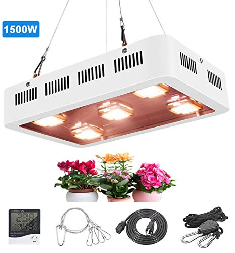 1500W Led Plant Grow Light Full Spectrum Sunlike Growing Lamps with 2 Quiet Cooling Fans, for Indoor Hydroponic Greenhouse