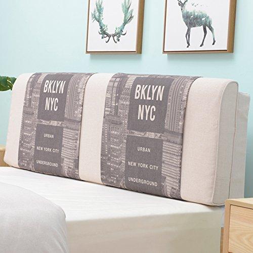 QIANDA Ryggstöd kudde med headboard Stor linplatta slitstark avtagbar för enkel/dubbelsäng 4 stilar, 7 storlekar Valfritt (Color : 4#, Size : 190 x 10 x 58cm)