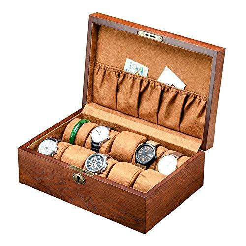 ZXy Uhr Aufbewahrungskoffer Sammlung Vintage Holz Vitrine Aufbewahrungskoffer Echtholz Uhrenkasten Aufbewahrung für Aufbewahrung und Display Uhr Exquisite/Braun/Einheitsgröße