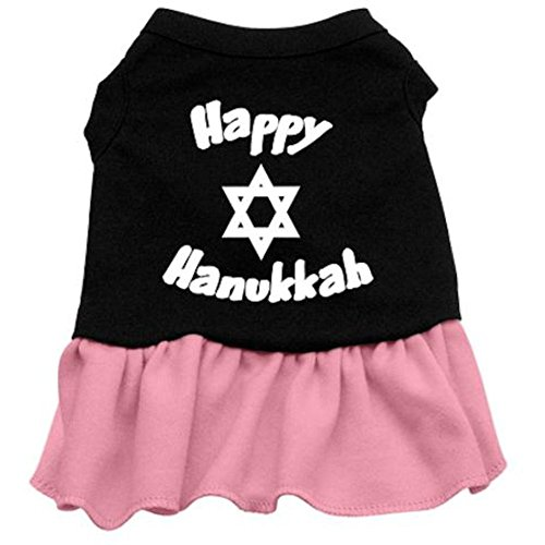 Mirage Pet Products 12-Inch Happy Hanukkah Screen Print Dress, Medium, Black with Pink